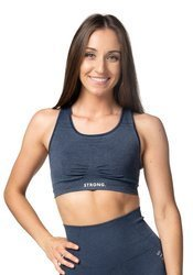 Strong. Bra Top. Navy Blue Jeans.